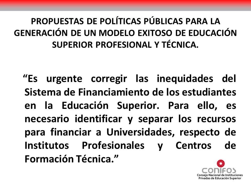 PROPUESTAS DE POLÍTICAS PÚBLICAS PARA LA GENERACIÓN DE UN MODELO EXITOSO DE EDUCACIÓN SUPERIOR PROFESIONAL Y TÉCNICA. Es urgente corregir las inequida