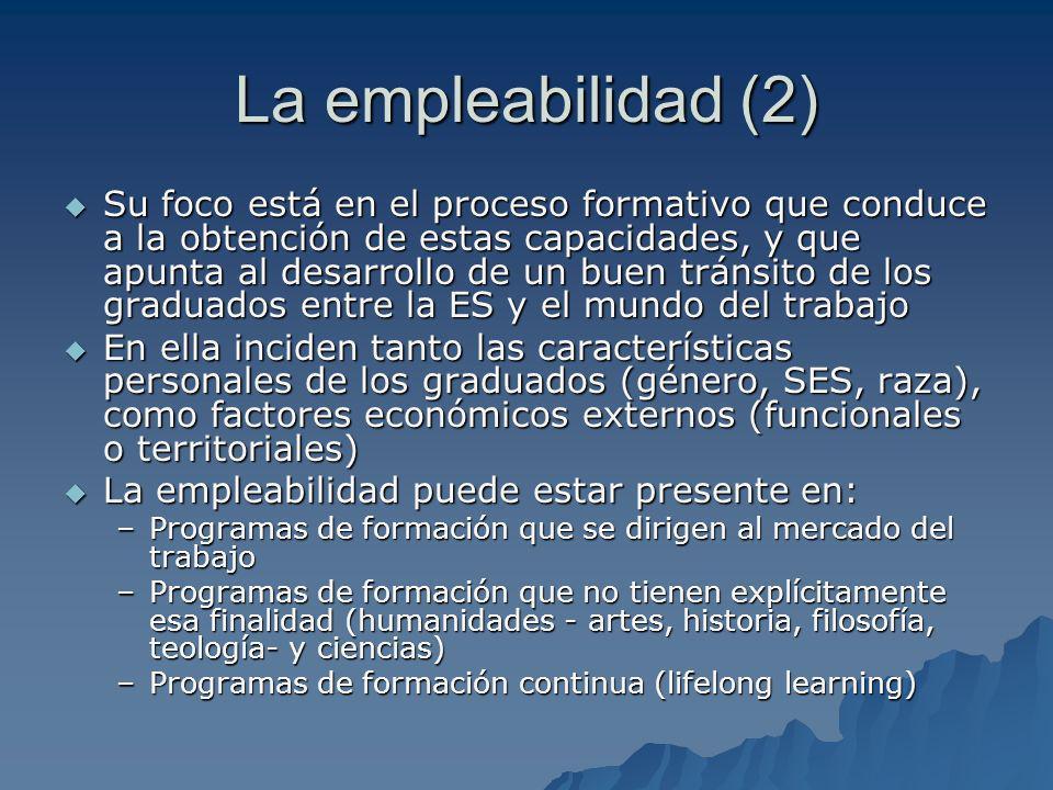 La empleabilidad (2) Su foco está en el proceso formativo que conduce a la obtención de estas capacidades, y que apunta al desarrollo de un buen tránsito de los graduados entre la ES y el mundo del trabajo Su foco está en el proceso formativo que conduce a la obtención de estas capacidades, y que apunta al desarrollo de un buen tránsito de los graduados entre la ES y el mundo del trabajo En ella inciden tanto las características personales de los graduados (género, SES, raza), como factores económicos externos (funcionales o territoriales) En ella inciden tanto las características personales de los graduados (género, SES, raza), como factores económicos externos (funcionales o territoriales) La empleabilidad puede estar presente en: La empleabilidad puede estar presente en: –Programas de formación que se dirigen al mercado del trabajo –Programas de formación que no tienen explícitamente esa finalidad (humanidades - artes, historia, filosofía, teología- y ciencias) –Programas de formación continua (lifelong learning)