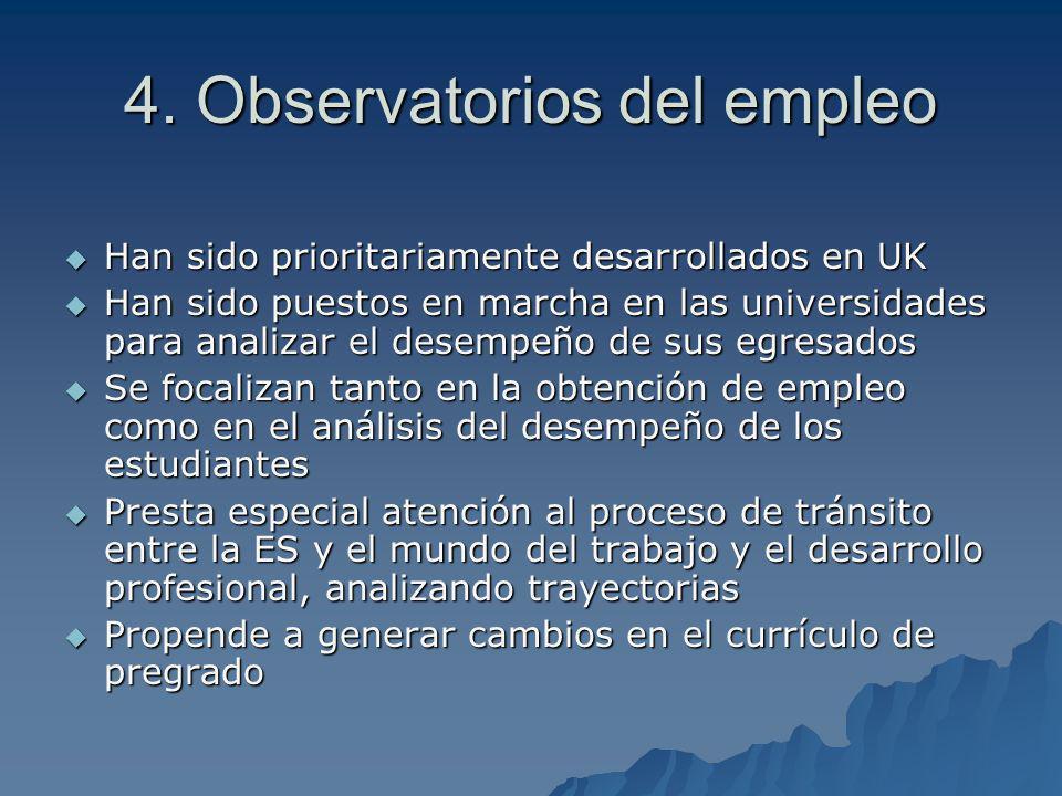 4. Observatorios del empleo Han sido prioritariamente desarrollados en UK Han sido prioritariamente desarrollados en UK Han sido puestos en marcha en