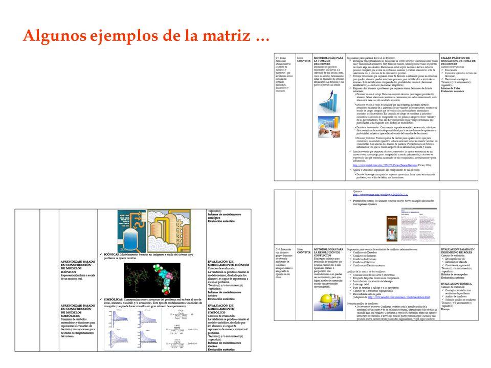 Algunos ejemplos de la matriz …