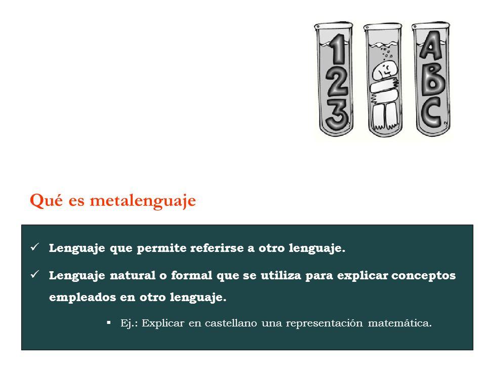 Lenguaje que permite referirse a otro lenguaje.