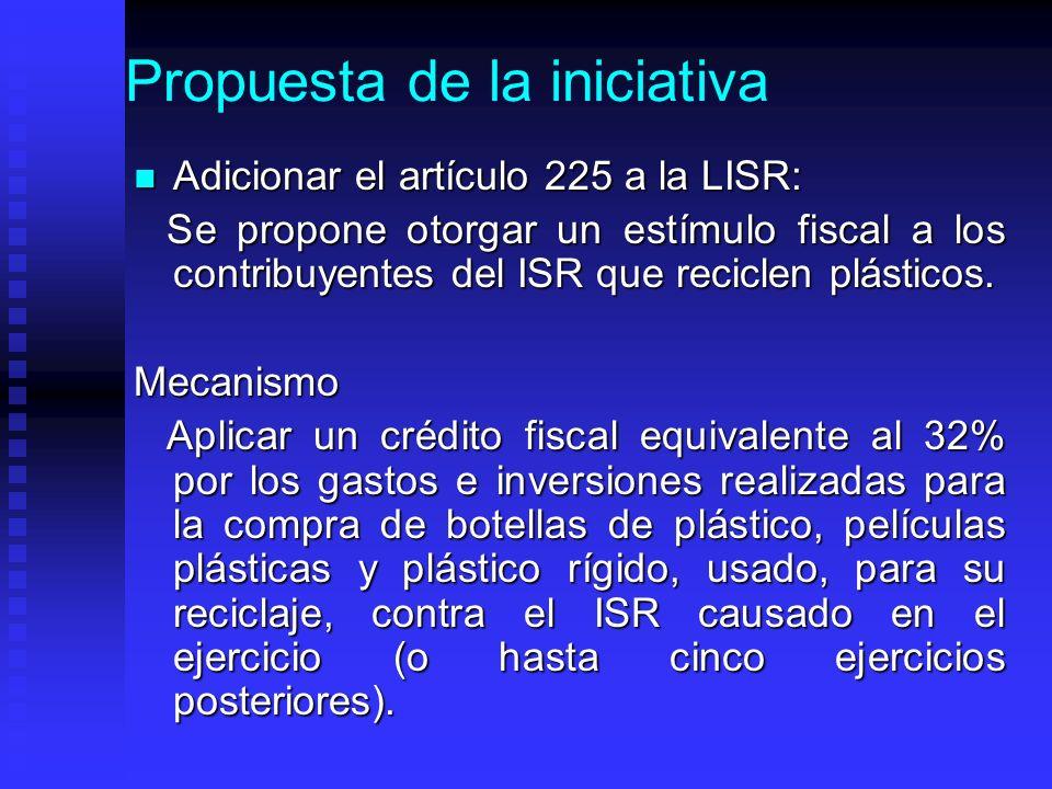 Propuesta de la iniciativa Adicionar el artículo 225 a la LISR: Adicionar el artículo 225 a la LISR: Se propone otorgar un estímulo fiscal a los contribuyentes del ISR que reciclen plásticos.