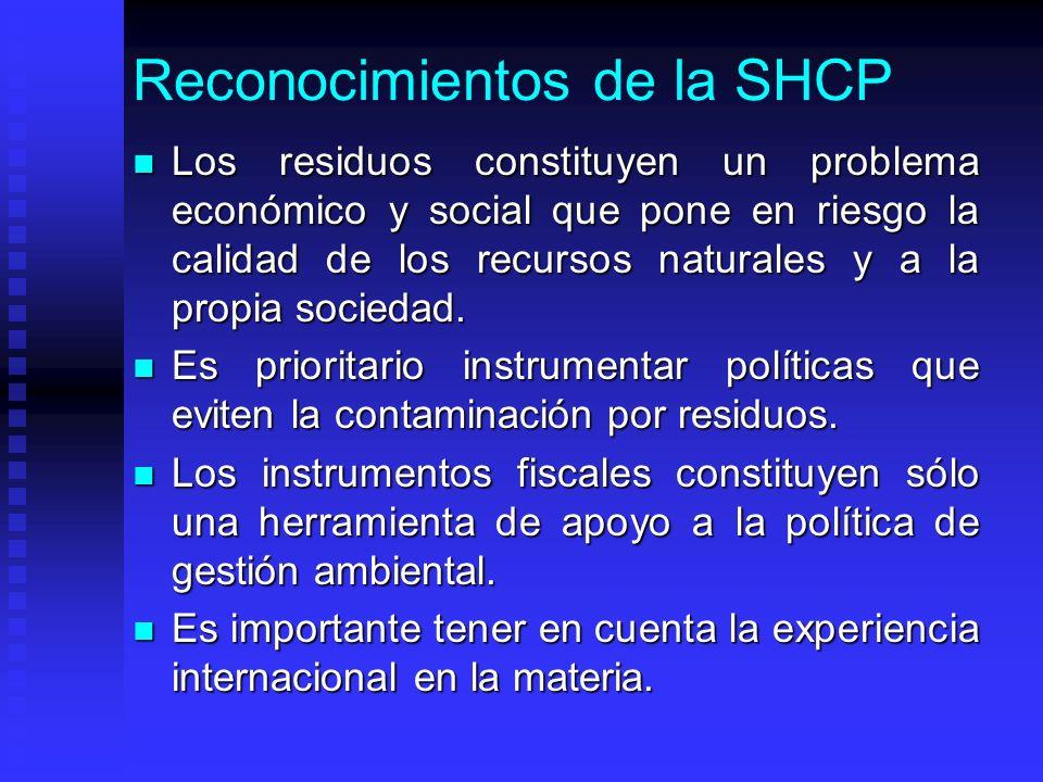 Reconocimientos de la SHCP Los residuos constituyen un problema económico y social que pone en riesgo la calidad de los recursos naturales y a la propia sociedad.