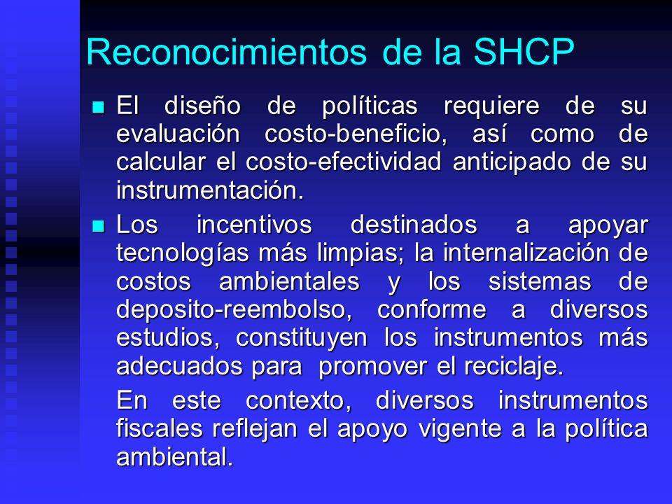 Reconocimientos de la SHCP El diseño de políticas requiere de su evaluación costo-beneficio, así como de calcular el costo-efectividad anticipado de su instrumentación.