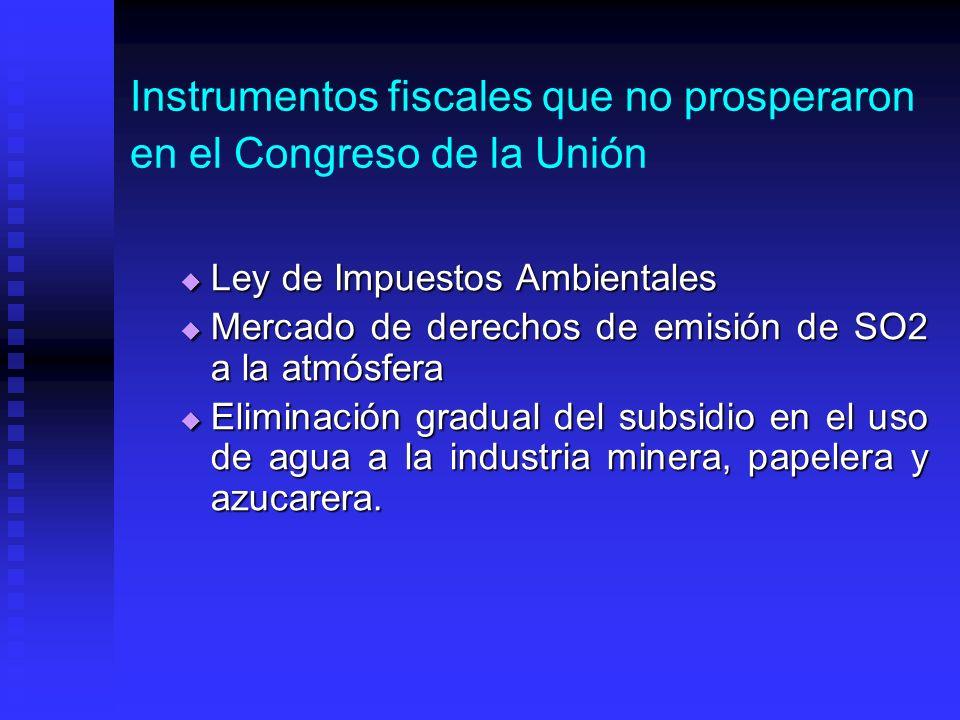 Instrumentos fiscales que no prosperaron en el Congreso de la Unión Ley de Impuestos Ambientales Ley de Impuestos Ambientales Mercado de derechos de emisión de SO2 a la atmósfera Mercado de derechos de emisión de SO2 a la atmósfera Eliminación gradual del subsidio en el uso de agua a la industria minera, papelera y azucarera.