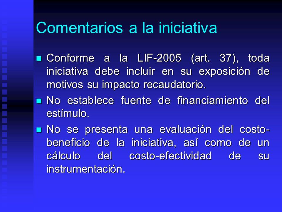 Comentarios a la iniciativa Conforme a la LIF-2005 (art.