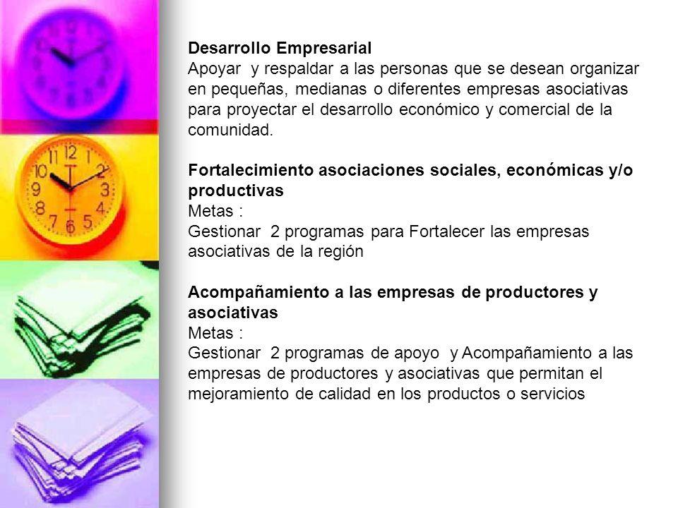 Desarrollo Empresarial Apoyar y respaldar a las personas que se desean organizar en pequeñas, medianas o diferentes empresas asociativas para proyecta