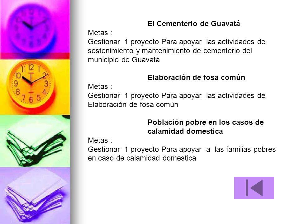El Cementerio de Guavatá Metas : Gestionar 1 proyecto Para apoyar las actividades de sostenimiento y mantenimiento de cementerio del municipio de Guav