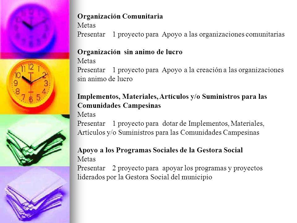 Organización Comunitaria Metas Presentar 1 proyecto para Apoyo a las organizaciones comunitarias Organización sin animo de lucro Metas Presentar 1 pro