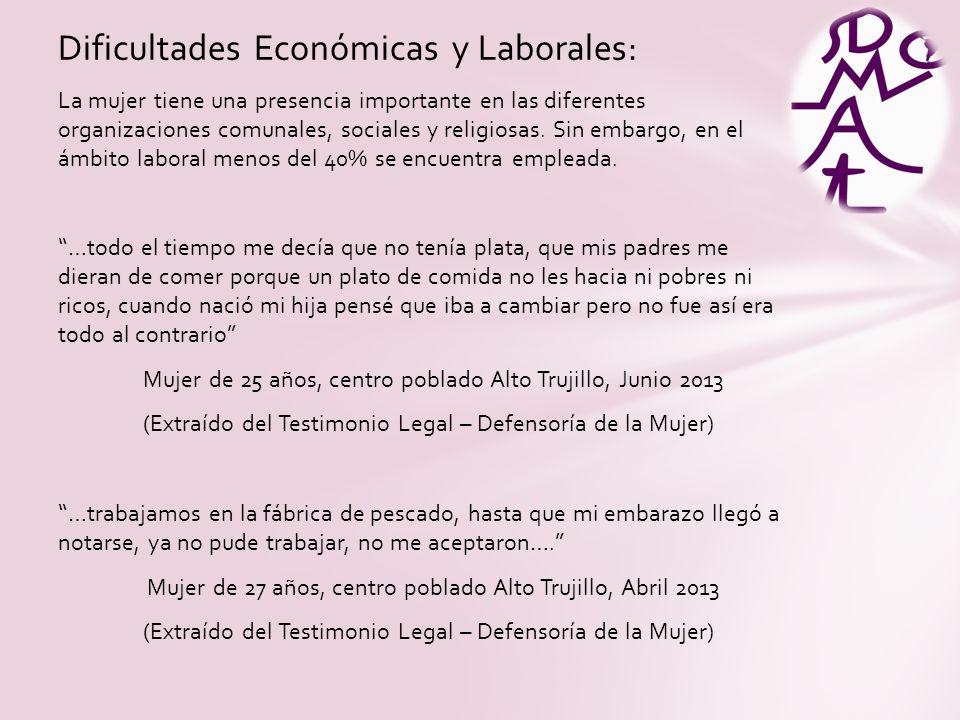 Dificultades Económicas y Laborales: La mujer tiene una presencia importante en las diferentes organizaciones comunales, sociales y religiosas.
