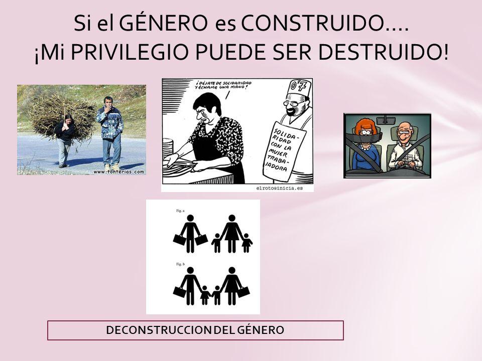 Si el GÉNERO es CONSTRUIDO…. ¡Mi PRIVILEGIO PUEDE SER DESTRUIDO! DECONSTRUCCION DEL GÉNERO