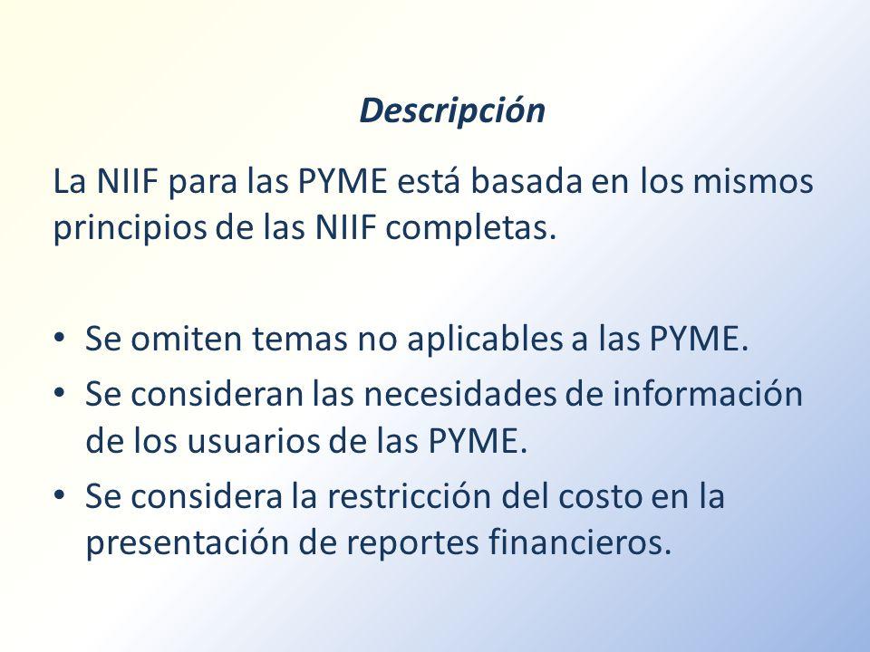 Descripción La NIIF para las PYME está basada en los mismos principios de las NIIF completas. Se omiten temas no aplicables a las PYME. Se consideran