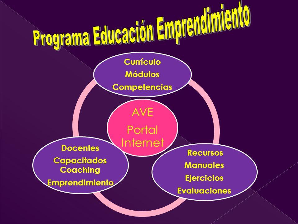 AVE Portal Internet Currículo Módulos Competencias Recursos Manuales Ejercicios Evaluaciones Docentes Capacitados Coaching Emprendimiento