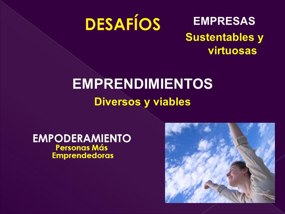 EMPODERAMIENTO Personas Más Emprendedoras EMPRENDIMIENTOS Diversos y viables EMPRESAS Sustentables y virtuosas