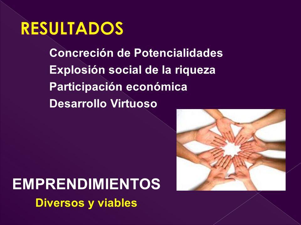 EMPRENDIMIENTOS Diversos y viables Concreción de Potencialidades Explosión social de la riqueza Participación económica Desarrollo Virtuoso