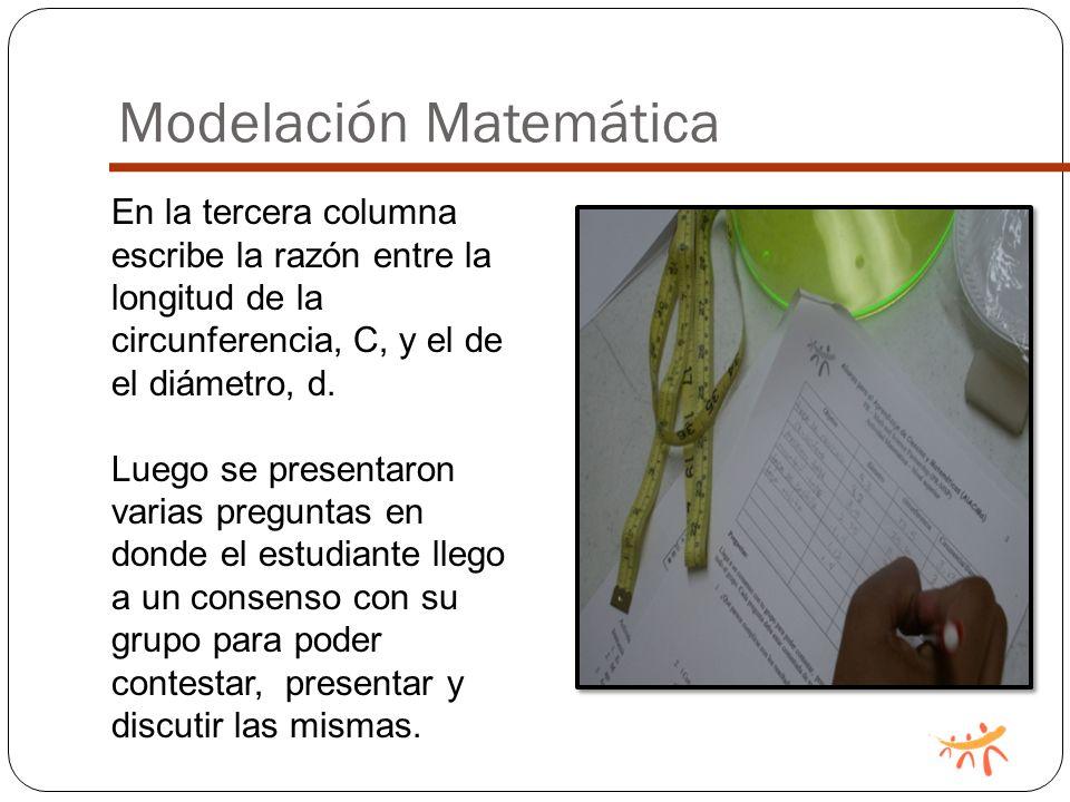 Modelación Matemática En la tercera columna escribe la razón entre la longitud de la circunferencia, C, y el de el diámetro, d.