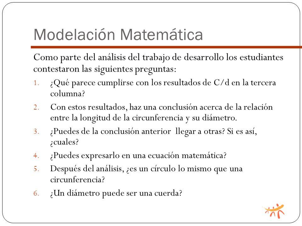 Modelación Matemática Como parte del análisis del trabajo de desarrollo los estudiantes contestaron las siguientes preguntas: 1.