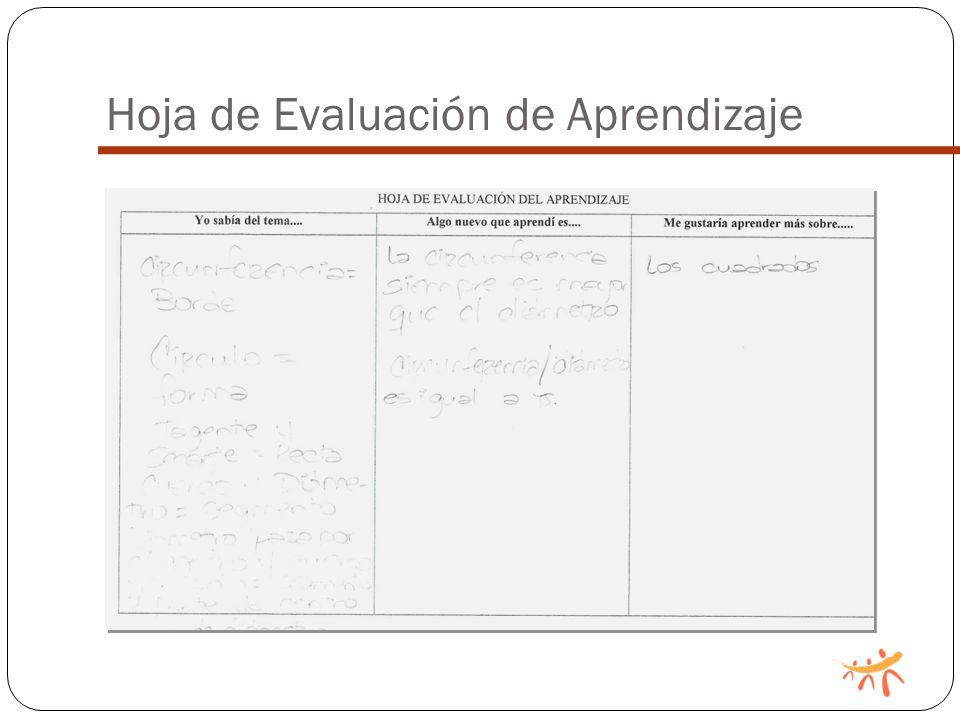 Hoja de Evaluación de Aprendizaje