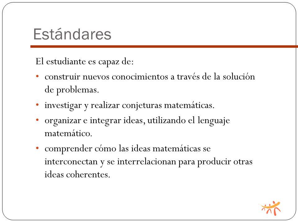 Estándares El estudiante es capaz de: construir nuevos conocimientos a través de la solución de problemas.