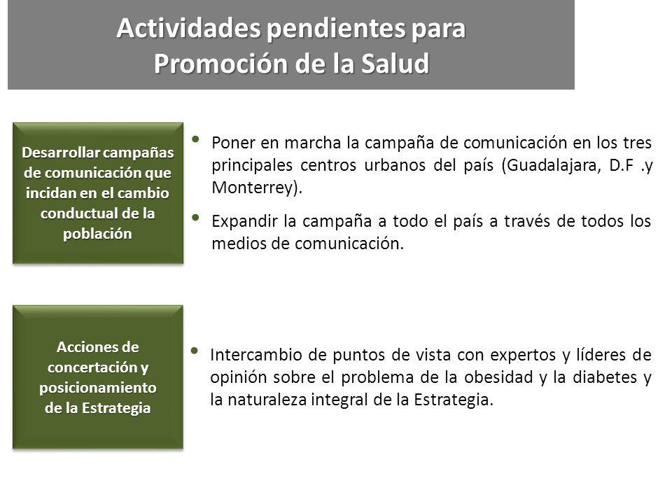 Actividades pendientes para Promoción de la Salud Desarrollar campañas de comunicación que incidan en el cambio conductual de la población Poner en ma