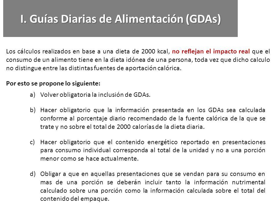 I. Guías Diarias de Alimentación (GDAs) Los cálculos realizados en base a una dieta de 2000 kcal, no reflejan el impacto real que el consumo de un ali