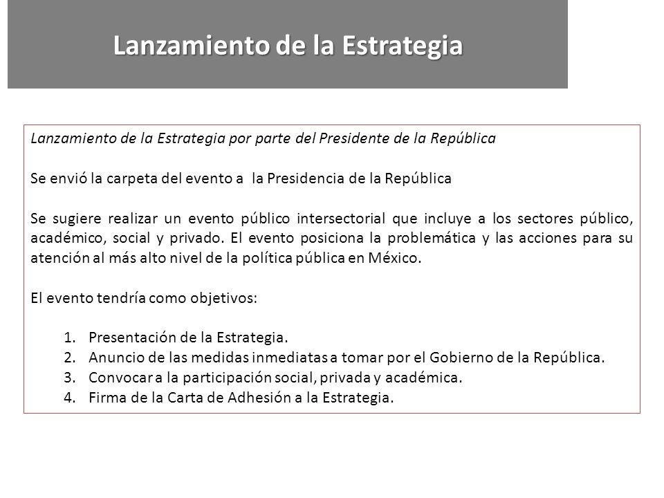 Lanzamiento de la Estrategia por parte del Presidente de la República Se envió la carpeta del evento a la Presidencia de la República Se sugiere reali