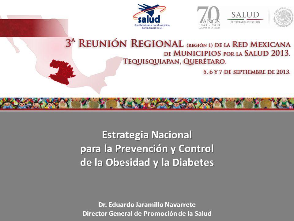 Estrategia Nacional para la Prevención y Control de la Obesidad y la Diabetes Dr. Eduardo Jaramillo Navarrete Director General de Promoción de la Salu