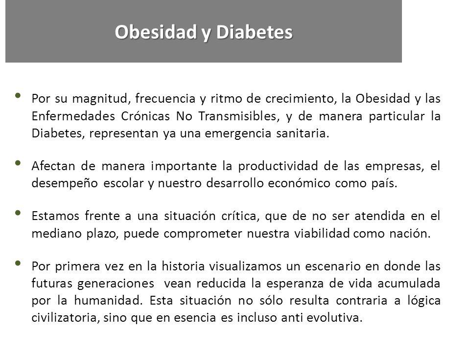 Por su magnitud, frecuencia y ritmo de crecimiento, la Obesidad y las Enfermedades Crónicas No Transmisibles, y de manera particular la Diabetes, repr