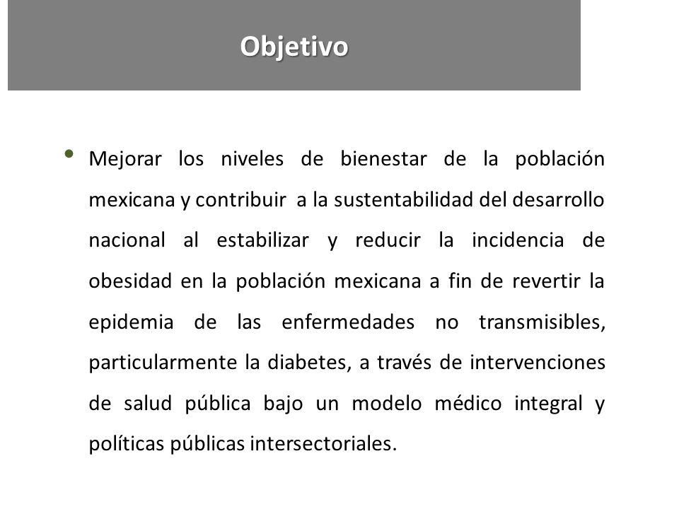 Mejorar los niveles de bienestar de la población mexicana y contribuir a la sustentabilidad del desarrollo nacional al estabilizar y reducir la incide