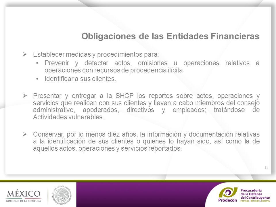 PROCURADURÍA DE LA DEFENSA DEL CONTRIBUYENTE Obligaciones de las Entidades Financieras Establecer medidas y procedimientos para: Prevenir y detectar a