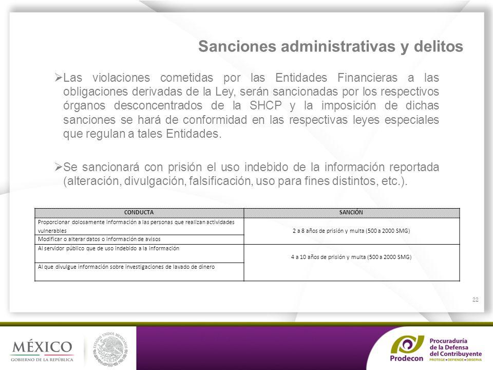 PROCURADURÍA DE LA DEFENSA DEL CONTRIBUYENTE Sanciones administrativas y delitos Las violaciones cometidas por las Entidades Financieras a las obligac