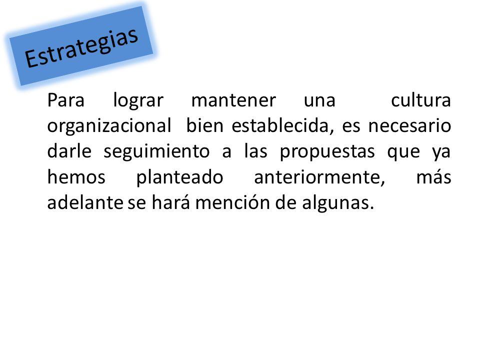Estrategias Para lograr mantener una cultura organizacional bien establecida, es necesario darle seguimiento a las propuestas que ya hemos planteado a