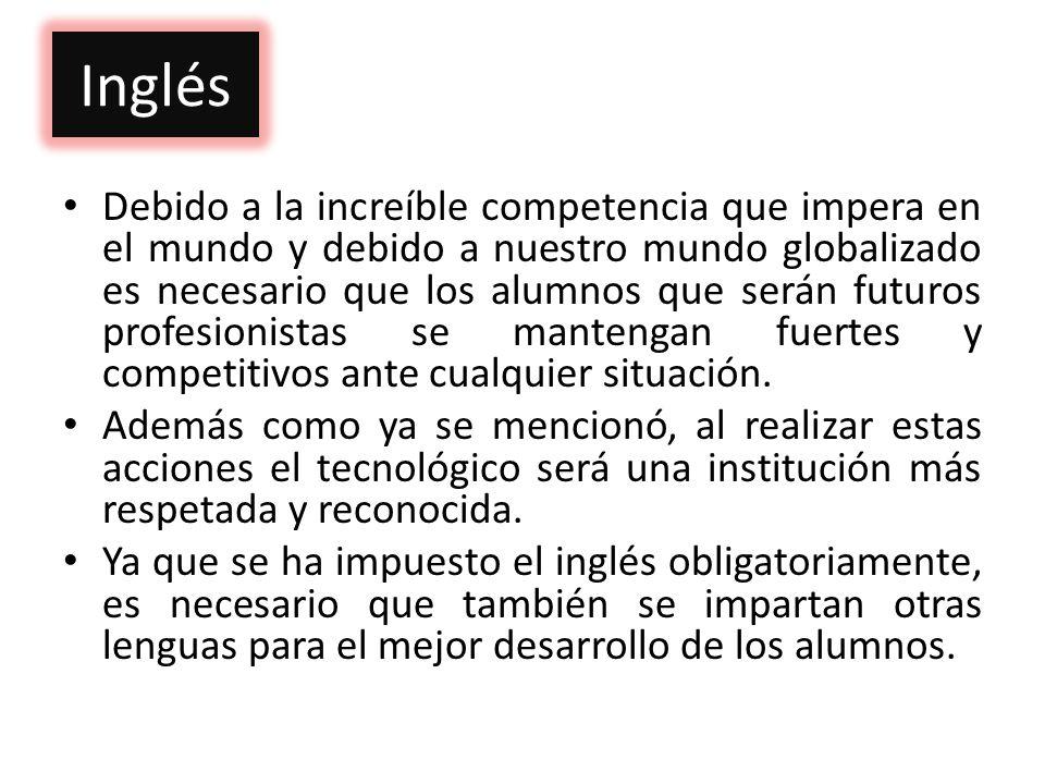 Inglés Debido a la increíble competencia que impera en el mundo y debido a nuestro mundo globalizado es necesario que los alumnos que serán futuros pr