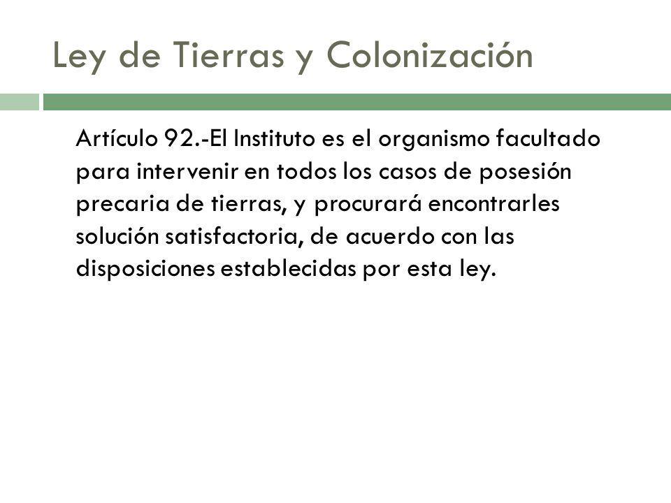 Ley de Tierras y Colonización Artículo 92.-El Instituto es el organismo facultado para intervenir en todos los casos de posesión precaria de tierras,