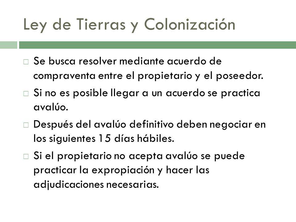 Ley de Tierras y Colonización Se busca resolver mediante acuerdo de compraventa entre el propietario y el poseedor. Si no es posible llegar a un acuer