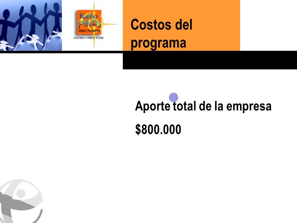 Haga clic para cambiar el estilo de título Aporte total de la empresa $800.000 Costos del programa 24% 40% 36%