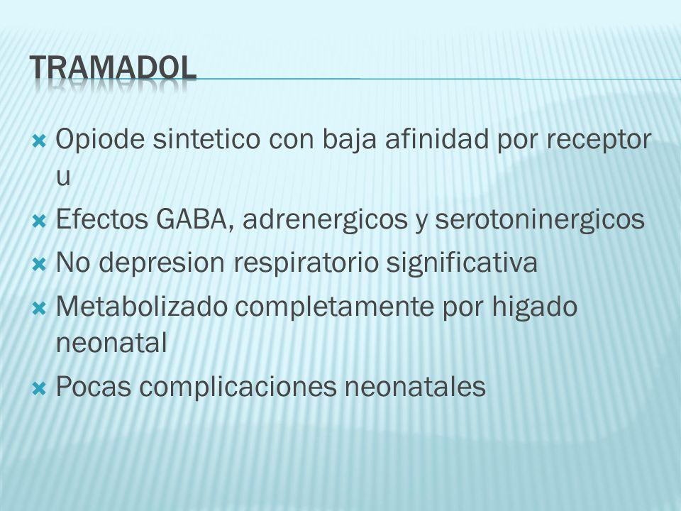 Opiode sintetico con baja afinidad por receptor u Efectos GABA, adrenergicos y serotoninergicos No depresion respiratorio significativa Metabolizado c