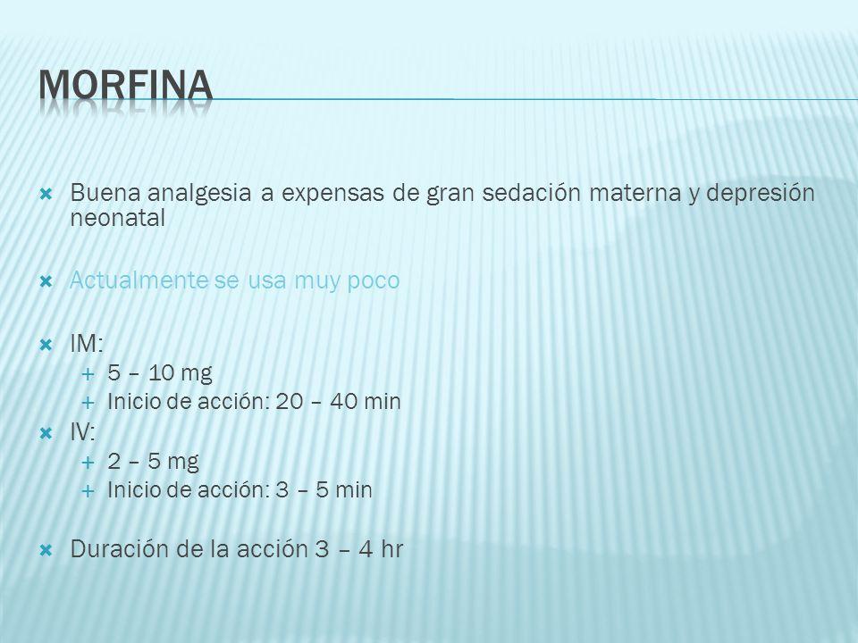 Buena analgesia a expensas de gran sedación materna y depresión neonatal Actualmente se usa muy poco IM: 5 – 10 mg Inicio de acción: 20 – 40 min IV: 2
