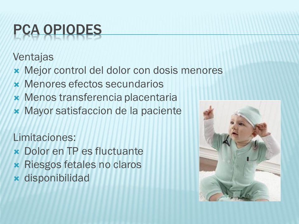 Ventajas Mejor control del dolor con dosis menores Menores efectos secundarios Menos transferencia placentaria Mayor satisfaccion de la paciente Limit