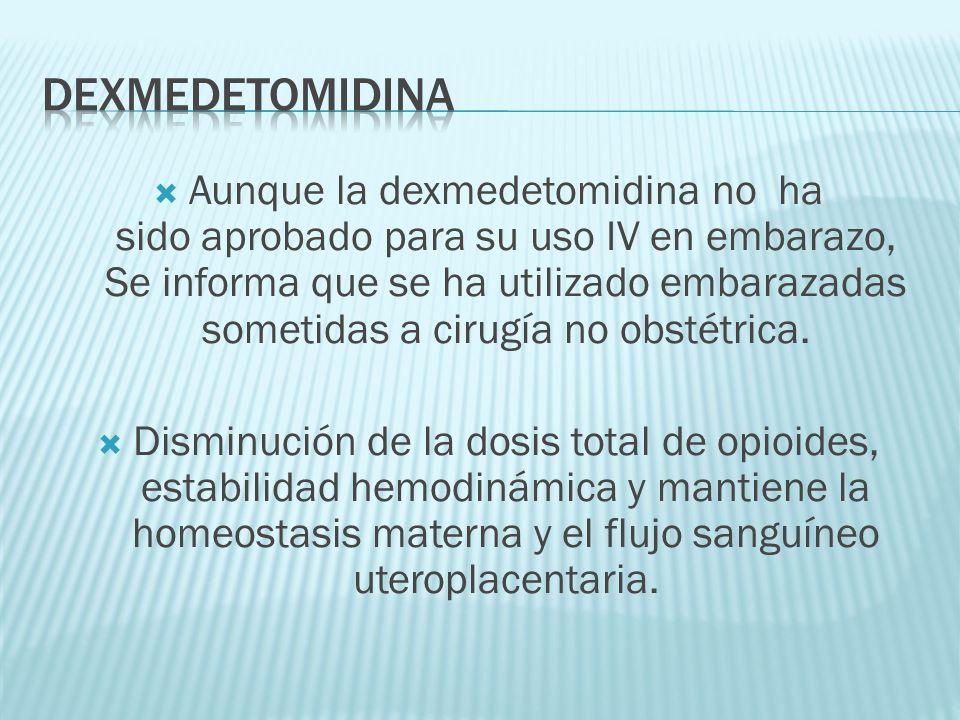 Aunque la dexmedetomidina no ha sido aprobado para su uso IV en embarazo, Se informa que se ha utilizado embarazadas sometidas a cirugía no obstétrica