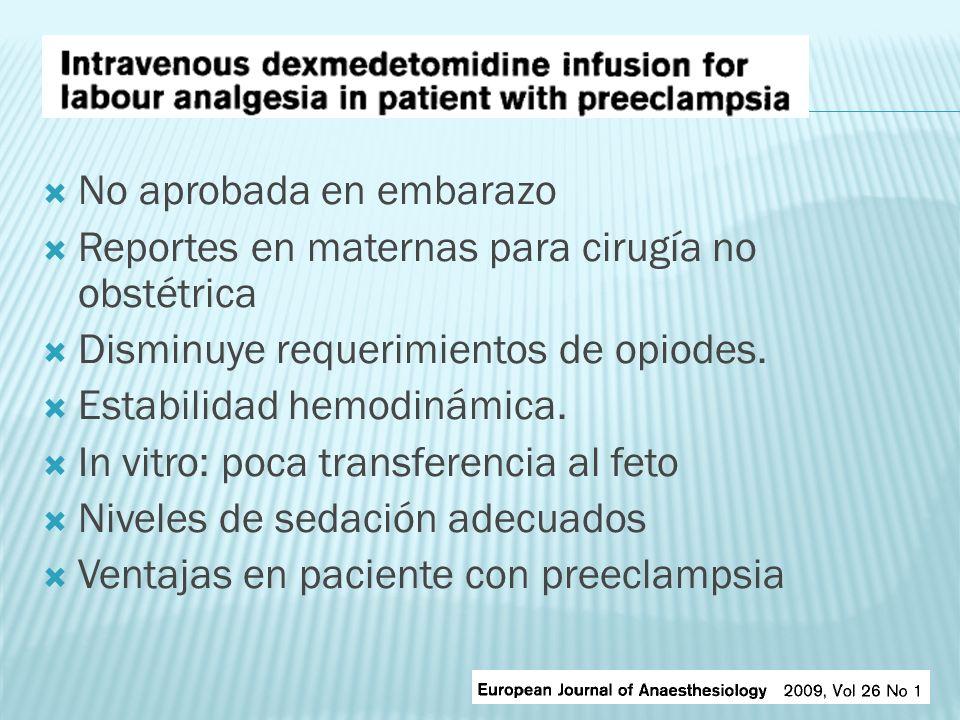 No aprobada en embarazo Reportes en maternas para cirugía no obstétrica Disminuye requerimientos de opiodes. Estabilidad hemodinámica. In vitro: poca