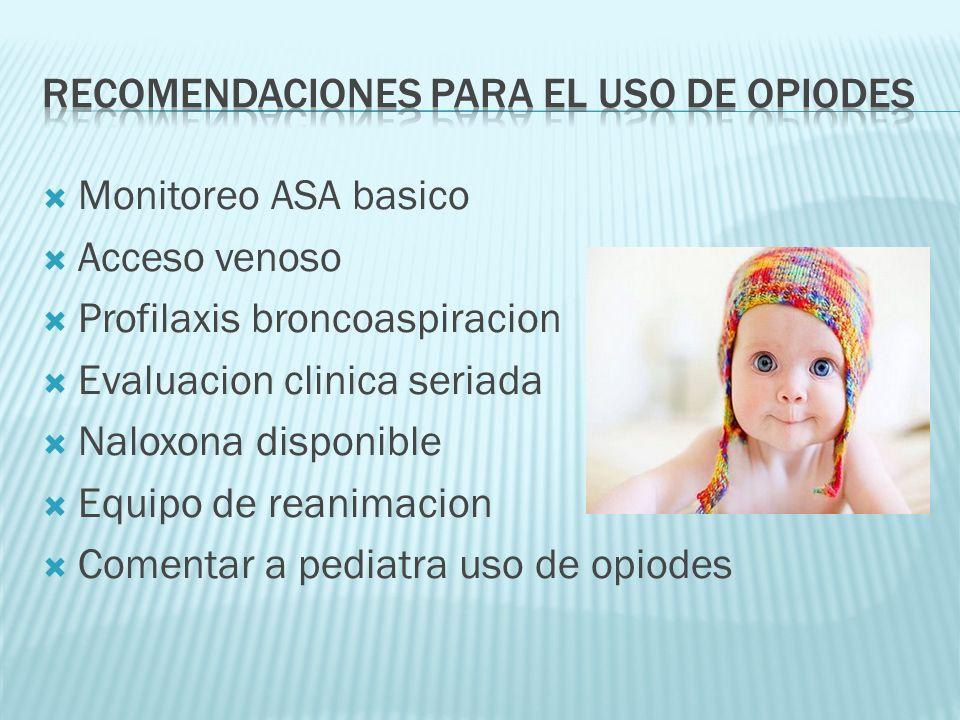 Monitoreo ASA basico Acceso venoso Profilaxis broncoaspiracion Evaluacion clinica seriada Naloxona disponible Equipo de reanimacion Comentar a pediatr