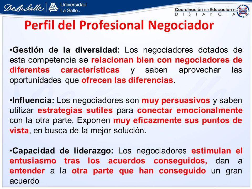 Gestión de la diversidad: Los negociadores dotados de esta competencia se relacionan bien con negociadores de diferentes características y saben aprov