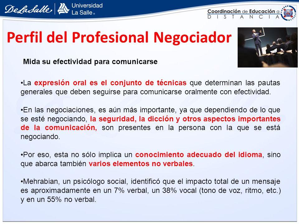 Perfil del Profesional Negociador Mida su efectividad para comunicarse La expresión oral es el conjunto de técnicas que determinan las pautas generale