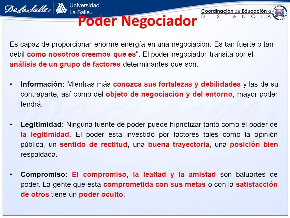 Poder Negociador Es capaz de proporcionar enorme energía en una negociación. Es tan fuerte o tan débil como nosotros creemos que es