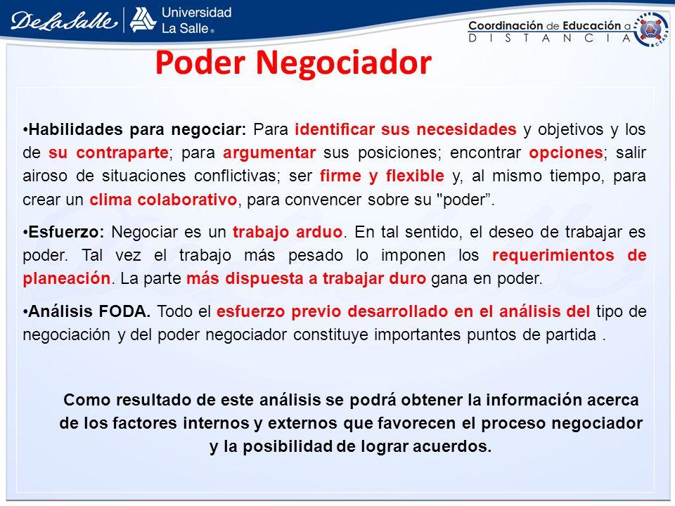 Poder Negociador Habilidades para negociar: Para identificar sus necesidades y objetivos y los de su contraparte; para argumentar sus posiciones; enco