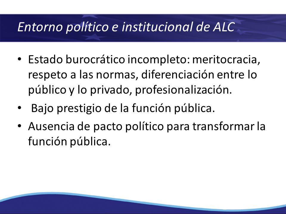 Estado burocrático incompleto: meritocracia, respeto a las normas, diferenciación entre lo público y lo privado, profesionalización. Bajo prestigio de