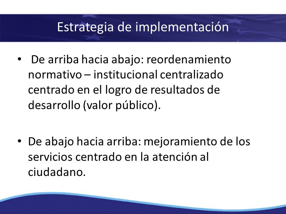 De arriba hacia abajo: reordenamiento normativo – institucional centralizado centrado en el logro de resultados de desarrollo (valor público). De abaj