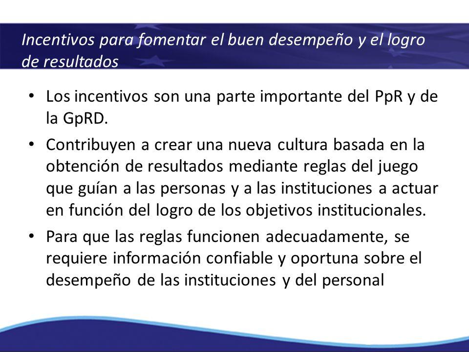 Incentivos para fomentar el buen desempeño y el logro de resultados Los incentivos son una parte importante del PpR y de la GpRD. Contribuyen a crear