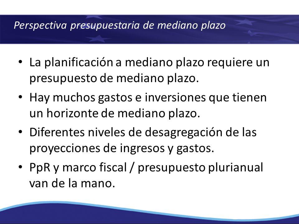 Perspectiva presupuestaria de mediano plazo La planificación a mediano plazo requiere un presupuesto de mediano plazo. Hay muchos gastos e inversiones